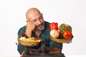 Man contemplating nutrition choices