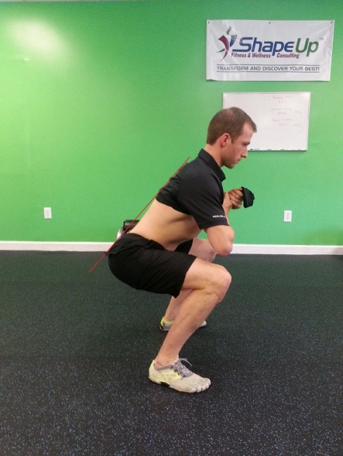 bodyweight squat with S-Curve maintained