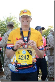 At the Finish after the Marine Corps Marathon 2013 trained by Shape Up Fitness & Wellness Consulting